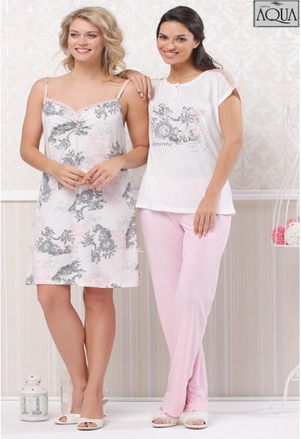 Aqua bayan düşük kol pijama takım 15893