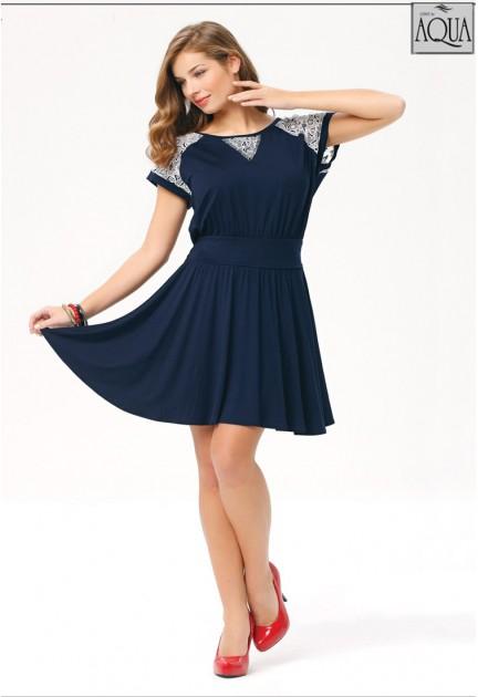 Aqua bayan düşük kol kolları dantel elbise 151126