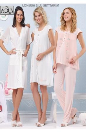 Aqua lohusa düşük kol gecelik sabahlık pijama takım