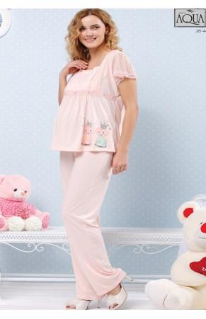 Aqua lohusa baskılı kolları dantel pijama takım 15714