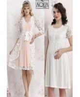 Aqua dantelli lohusa gecelik sabahlık pijama set takım 17653-654-658