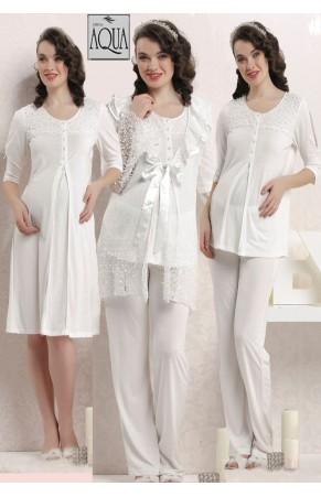 Aqua dantelli lohusa gecelik sabahlık pijama set takım