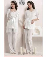 Aqua dantelli lohusa gecelik sabahlık pijama set takım 17676-677-678