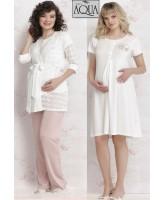 Aqua kalpli lohusa gecelik sabahlık pijama set takım  17680-681-683