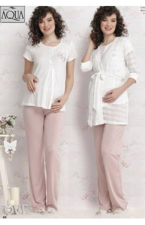Aqua kalpli lohusa pijama takımı 17681