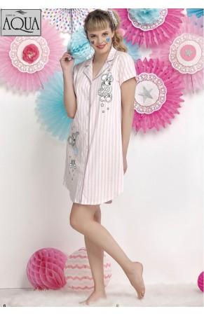Aqua düğmeli kısa gecelik elbise 17738