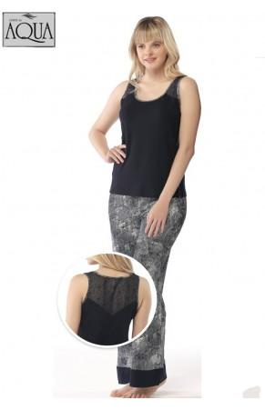 Aqua bayan kalın askı dantelli pijama takım 17823