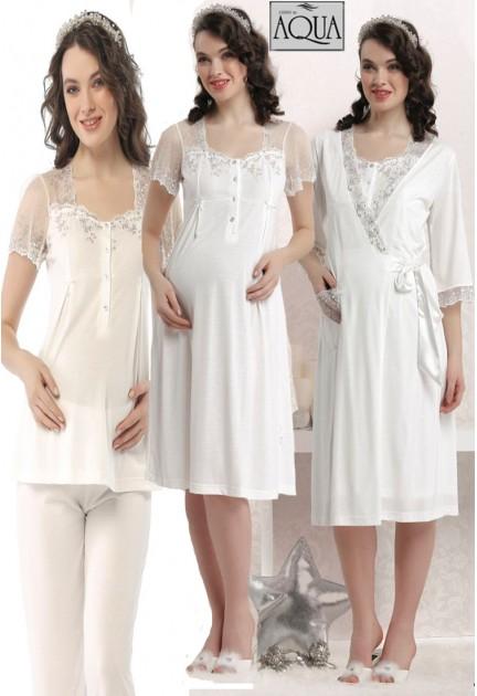 Aqua dantelli lohusa gecelik sabahlık pijama set takım 17662-663-664