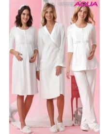 Aqua omuzları dantelli lohusa gecelik sabahlık pijama 3 lü set 18000-18001-18002