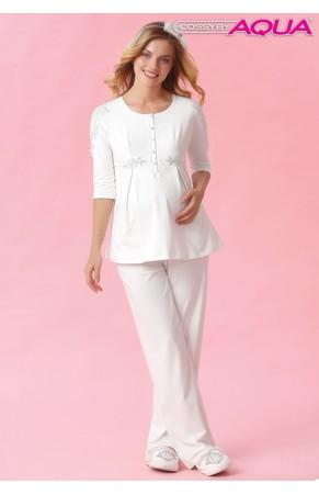 Aqua omuzları dantelli lohusa pijama takımı 18001