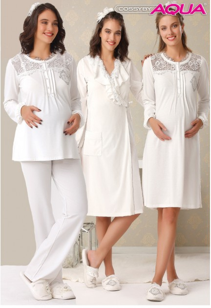 Aqua yakası dantelli lohusa gecelik fırfırlı sabahlık pijama 3 lü set 18003-18004-18005
