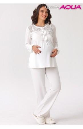 Aqua yakası dantelli lohusa pijama takımı 18004