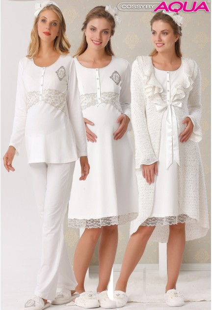 Aqua fırfırlı lohusa gecelik sabahlık pijama 3 lü set 18016-18035-18036