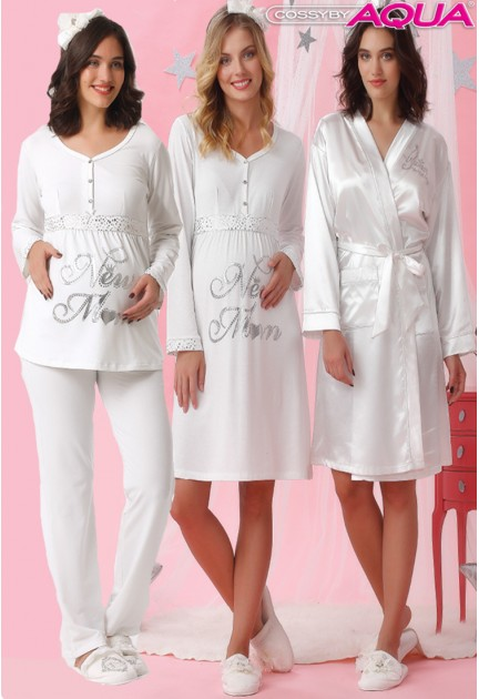 Aqua baskılı lohusa gecelik sabahlık pijama 3 lü set takım  18017-18018-18019