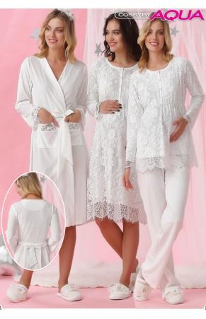 Aqua dantelli lohusa gecelik sabahlık pijama 3 lü set takım  18020-18021-18022