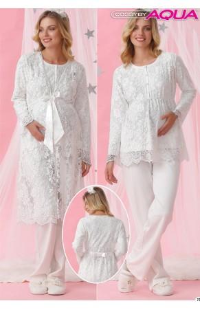 Aqua komple dantelli  lohusa pijama takımı 18021