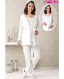 Aqua dantelli lohusa pijama sabahlık takım 18044