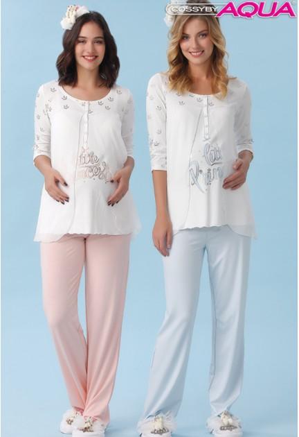 Aqua baskılı lohusa pijama takımı 18046