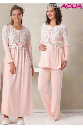 Aqua düğmeli dantelli lohusa pijama takımı 18049