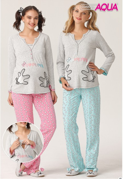 Aqua baskılı kalpli lohusa pijama takımı 18091